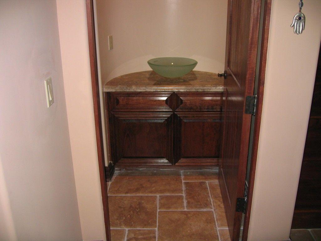 dark wood bathroom cabinets