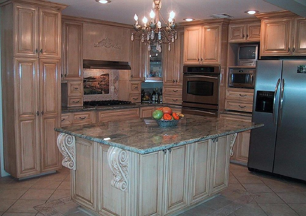 ornate light wood kitchen