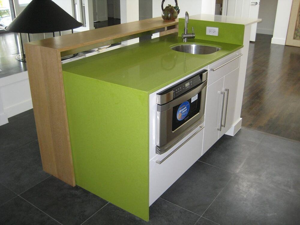 lime green one piece counter top