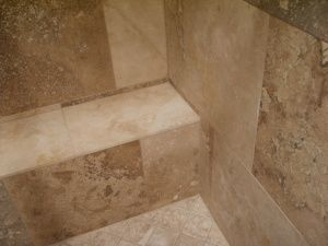 walnut travertine tile shower