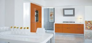 melamine cabinets and wall treatments